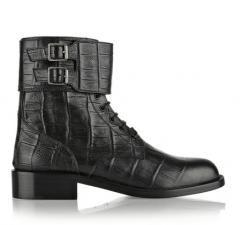 patti cro-effect leather ankle boots - Saint Laurent