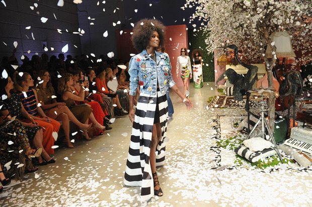 """HOLLYWOOD, CA - APRIL 13:  Models walk the runway during the alice + olivia by Stacey Bendet Los Angeles Runway Show at NeueHouse Los Angeles on April 13, 2016 in Hollywood, California.  (Photo by Donato Sardella/Getty Images for alice + olivia)"""
