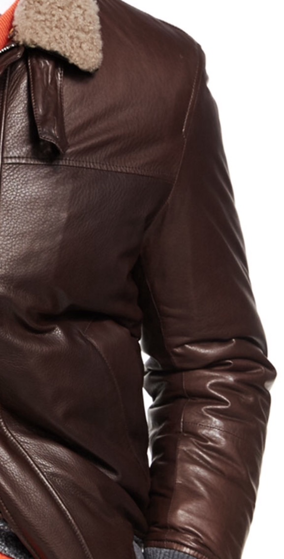 Brunello CucinelliPrepares for Fall with the release of Their Luxurious Leather Jacket with Shearling Collar.