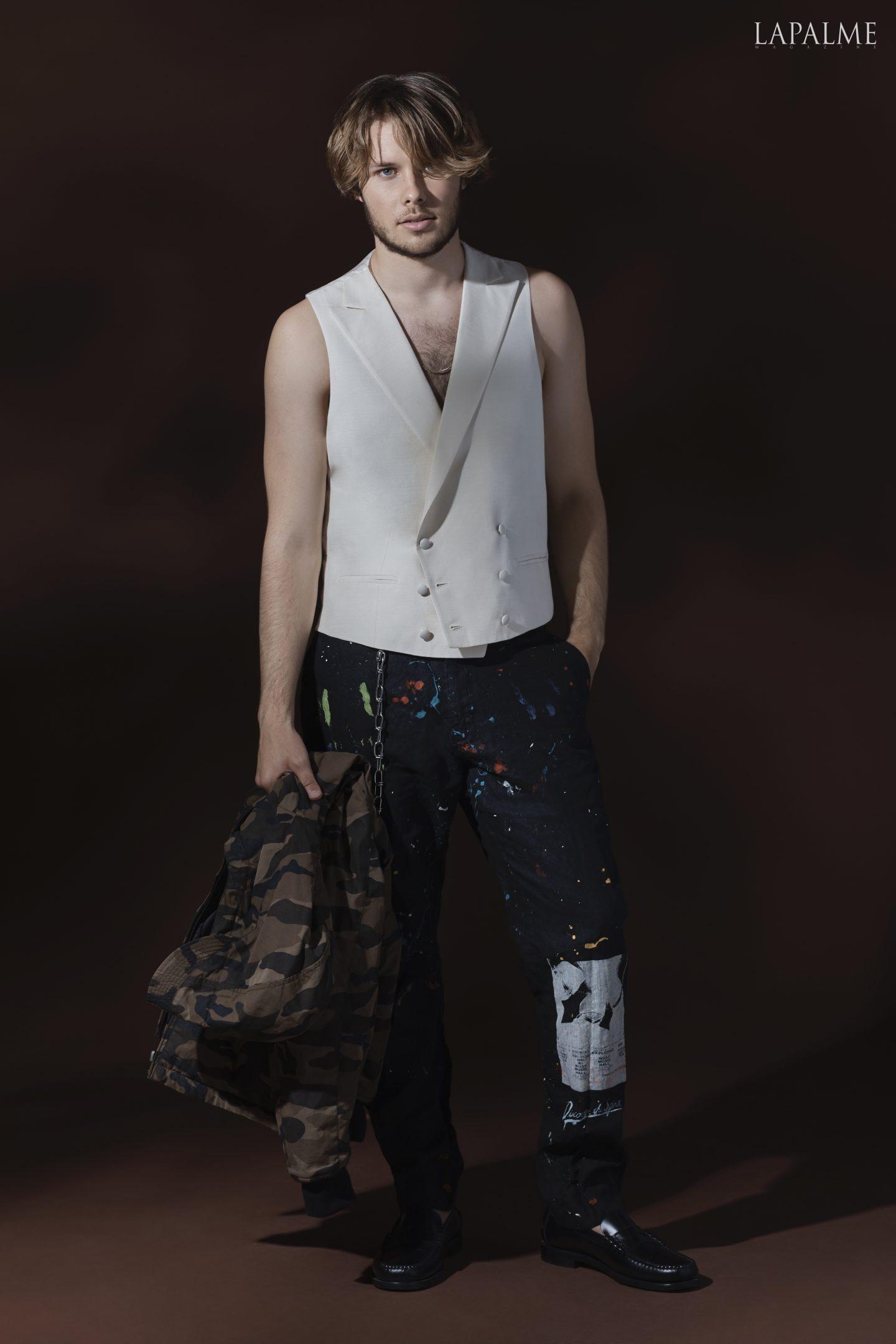Chain: Stylist Own Jacket: Lucky Brand Vest: Joseph Abboud Black Label SS19 Pants: Glass Shoes: Sebago